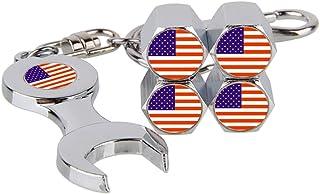 iDoood Flag of USA Valve Stem Caps - Silver Car Tyre Valve Stem Cover 4 Pcs + Wrench Keychain 1 Pcs - Tire Wheel Rim Dust ...