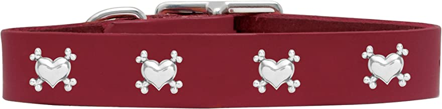 product image for Rockin Doggie Heart/Bones Rivet Veg Leather Dog Collar, 3/4 by 12-Inch, Red