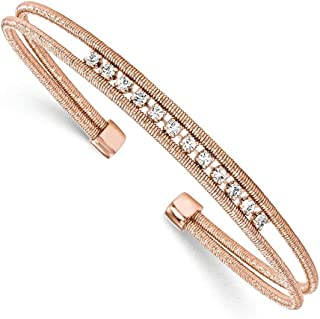 5.75mm 925 Sterling Silver Rhodium-plated Rose Gold-Flashed Cubic Zirconia Woven Cuff Bangle