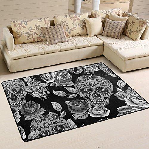 yibaihe leicht, Bereich Teppich Teppich dekorativen modernes Totenkopf mit Blumen wasserabweisend farbbeständige für Wohnzimmer Schlafzimmer, 91 x 61 cm