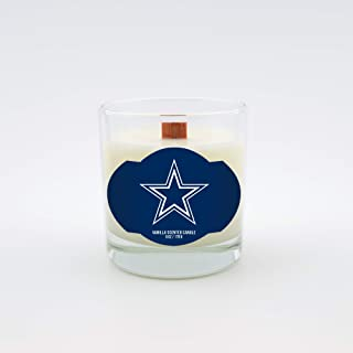 Worthy Promotional NFL Dallas Cowboys Vanilla Scented 6 oz Soy Wax Candle, Wood Wick