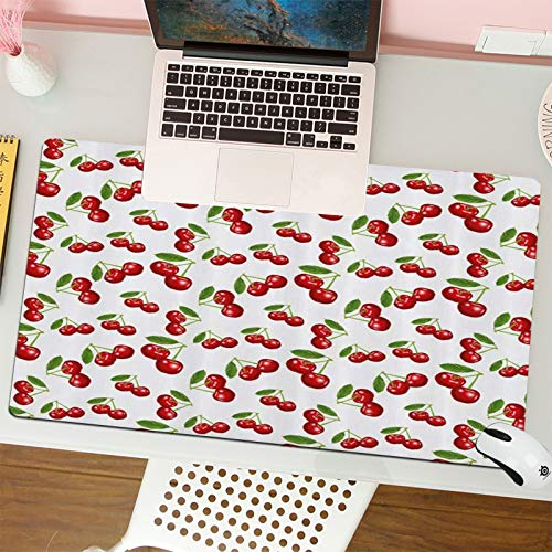 Alfombrilla para ratón (80x30 cm). Diseño de patrón de Cereza de Fruta...