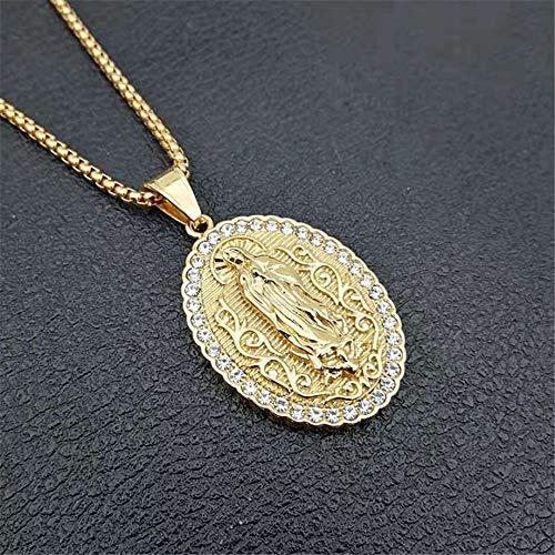 Virgen María Collar Colgante de Acero Inoxidable Mujeres Joyas Cristianas Señora de Guadalupe Milagrosa Oval Madonna Collar 68 Cm