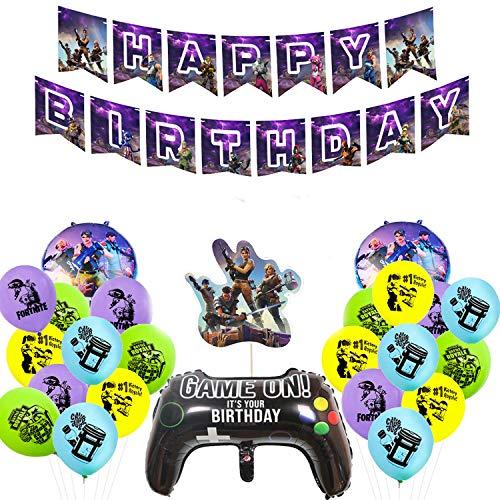 FLYFLY Conjunto de Suministros para la Fiesta, Decoraciones para Cumpleaños de Tema de Videojuegos para Fiesta Infantil, Adultos y Disfraces
