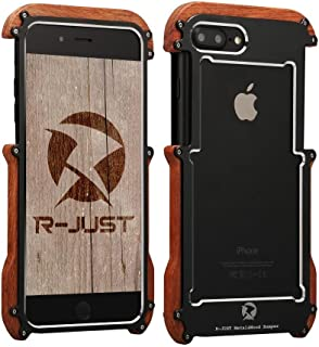 iPhone 7 plus Wood Metal frame Case, Drop Protection Ultra Thin Aluminum Metal Cover Protective Case Shockproof Dropproof Bumper Frame for Apple iPhone 7 plus 5.5