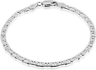 Quadri - Mariner Link Chain 4mm in 925 Sterling Silver Italian - Diamond-Cut Flat Bracelet for Women Men Girls Boys - 7 to...