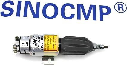 600-815-9260 600-815-9261 24V Shutdown Solenoid - SINOCMP Shutoff Solenoid for Komatsu PC75US-3 PC75UU-2 PC75UU-3 PC60-7 4D102 4D95 6D102 Parts 3 Month Warranty