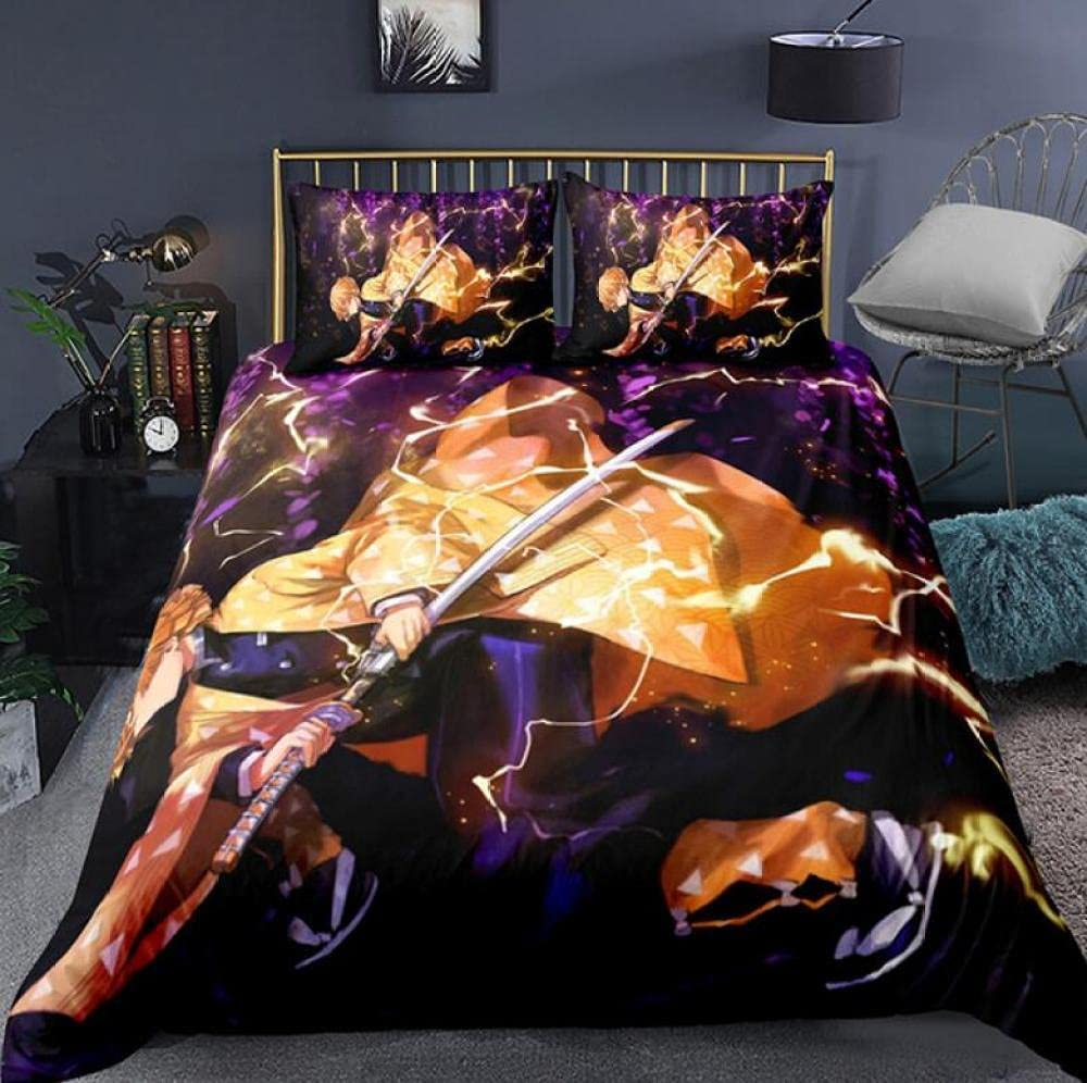 Anime 67% OFF of fixed price Demon Slayer 3D Printed Bedroom Queen 3Pcs Size King Cover Choice