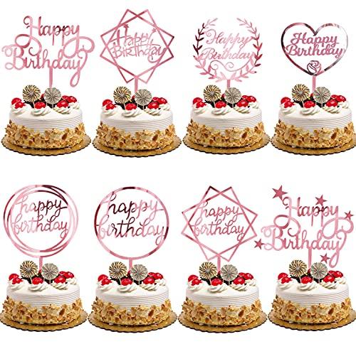 Nuyoah Topper Tarta Cumpleaños Cake Topper Decoración Para Tartas Happy Birthday 16pcs 8 Diferentes Estilos para Niños Hombres Mujeres Fiesta de Cumpleaños DIY Decoración Suministros (Roségold)