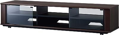 ハヤミ NRシリーズ 50~70V型対応 ダークブラウン木目調のガラス扉付きテレビ台 NR-623 幅169.8cm