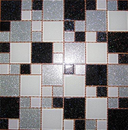 Vetro Mosaico Piastrelle Matte con pietre in due misure nero, bianco e argento con glitter (mt0034)