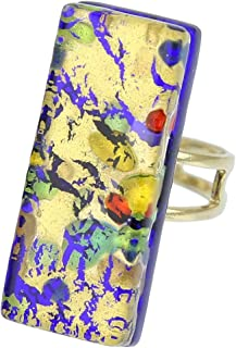GlassOfVenice Murano Glass Venetian Reflections Rectangular Adjustable Ring - Golden