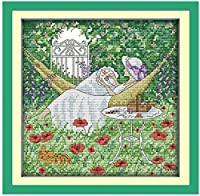 Cross Stitch Kits for Beginner 11CT Stamped Cross Stitch Embroidery Sets Girl On The Lawn in Front of The HouseHandicraft Cross-Stitch Supplies Needlework Gift for Home Decor-16x20 inch