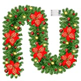 Coisien 8.8 Ft Pre-lit Christmas Garland with Lights, Flowers and Balls, Artificial Xmas Pine Garland for Home Christmas Decorations, Outdoor, Indoor, Fireplace, Party, Green Non-Lit Soft Holiday, Red
