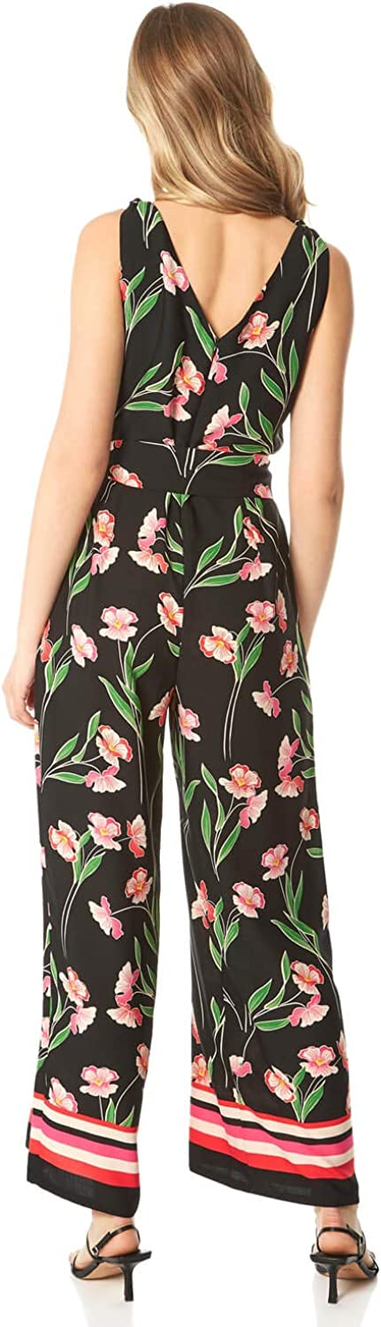 Ladies Casual Holiday Day Cruise V-Neck Strappy Knot Tie Detail Tailored Fit All in one Romper Jumpsuits Roman Originals Women Floral Border Print Wide Leg Jumpsuit