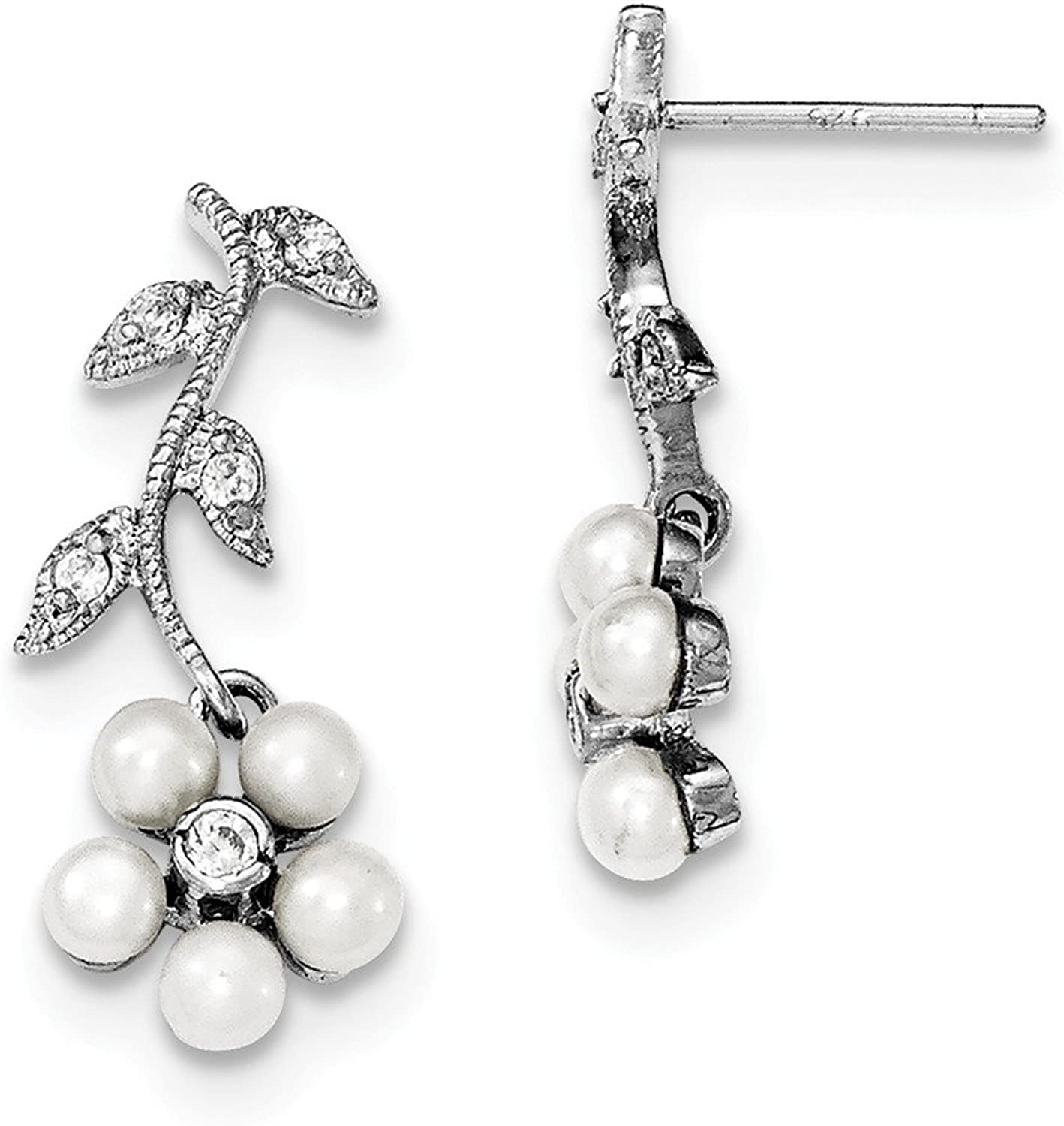 Diamond2Deal Sterling Silver Rhodium Fresh Cultured Pearl & Diamond Flower Drop Earrings