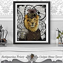 Set of 2 Art Prints Lion and Peacock Steampunk Wall Decor on Dictionary Book Pages #4
