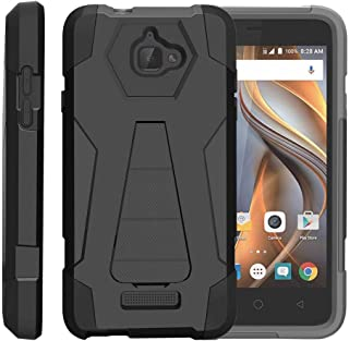 TurtleArmor | Compatible with Coolpad Case | 3622A Case [Dynamic Shell] Impact Proof Hard Kickstand Hybrid Shock Fitted Silicone Cover Military War Army Camo Design - Black