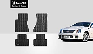 ToughPRO Floor Mats Set (Front Row + 2nd Row) Compatible with Cadillac CTS (Sedan) - All Weather - Heavy Duty - (Made in USA) - Black Rubber - 2008, 2009, 2010, 2011, 2012, 2013