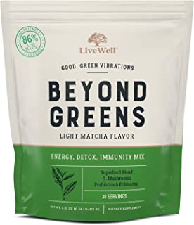 Beyond Greens Concentrated Superfood Powder - Matcha Flavor w/ Mushrooms, Probiotics, Echinacea for Immune System Boost, G...