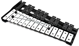 Professional Large Black Wooden Glockenspiel Xylophone with 25 Metal Keys for Adults & Kids - Includes 2 Wooden Beaters an...