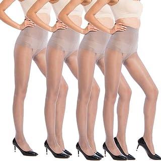 ANDIBEIQI 4 Paia Collant Donna resistenti e ultra-soft Fine 30 Den Calze Velato Trasparente Taglia Unica