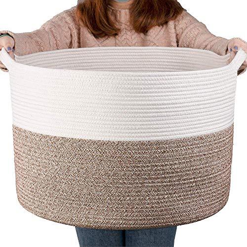 YEESON Cesta de almacenamiento de cuerda de algodón de 55 x 55 x 35 cm, cesta de almacenamiento de cuerda tejida para lavandería, cesta organizadora con asas para sala de estar, recámara, habitación de los niños, cuarto de lavandería y cuarto de niños