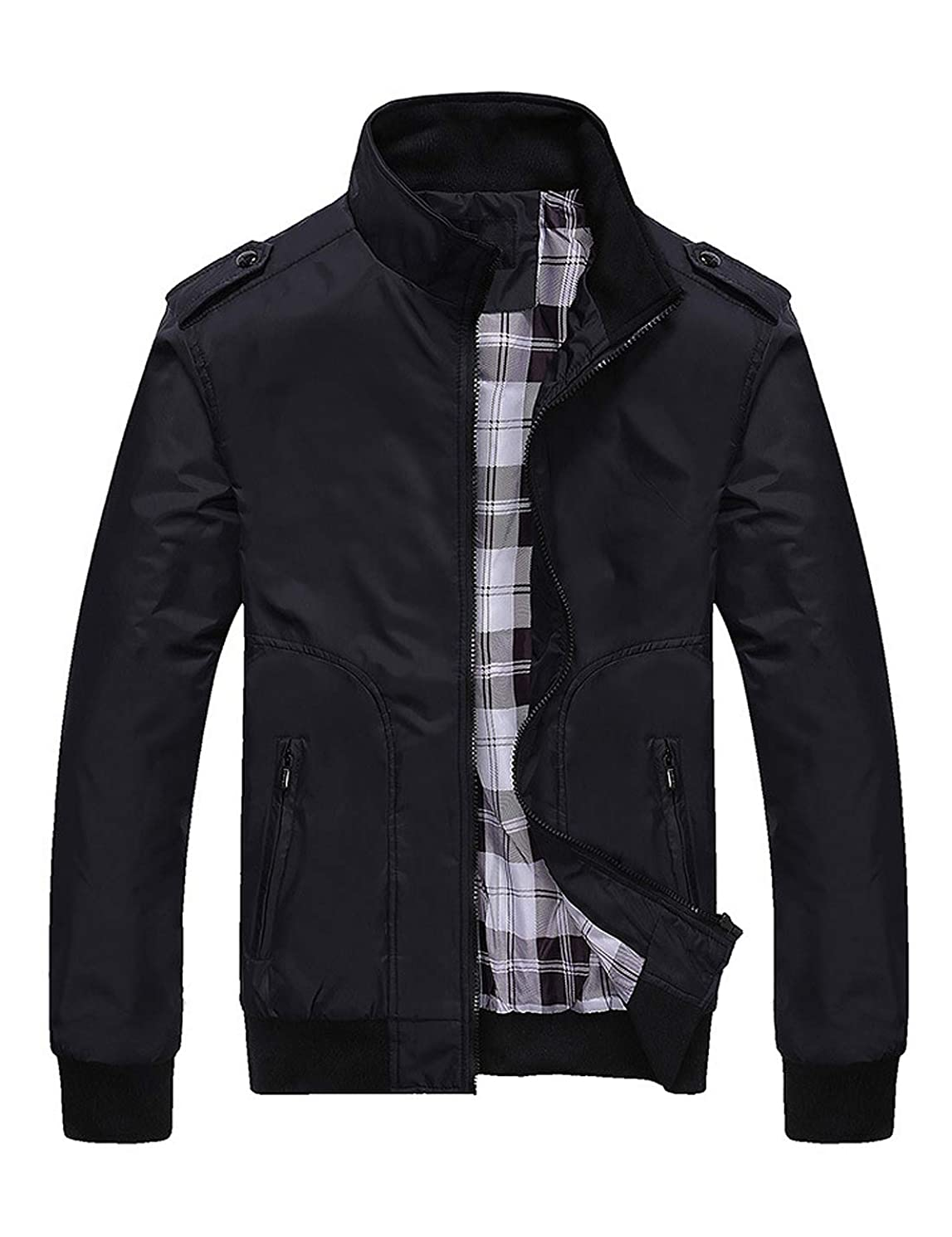 Locachy Men's Casual Stand Collar Lightweight Bomber Jacket with Shoulder Straps