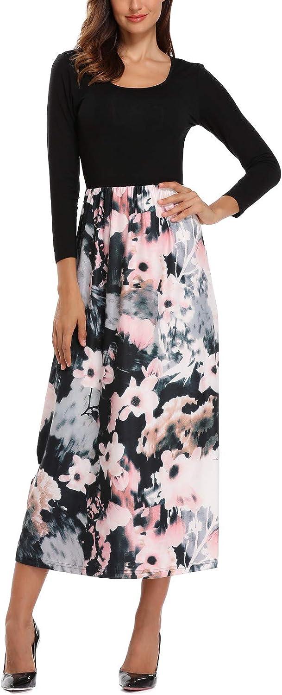 Anienaya Women's Floral Printed Elastic Waist Contrast Bracelet Sleeves Mid Calf Maxi Dresses