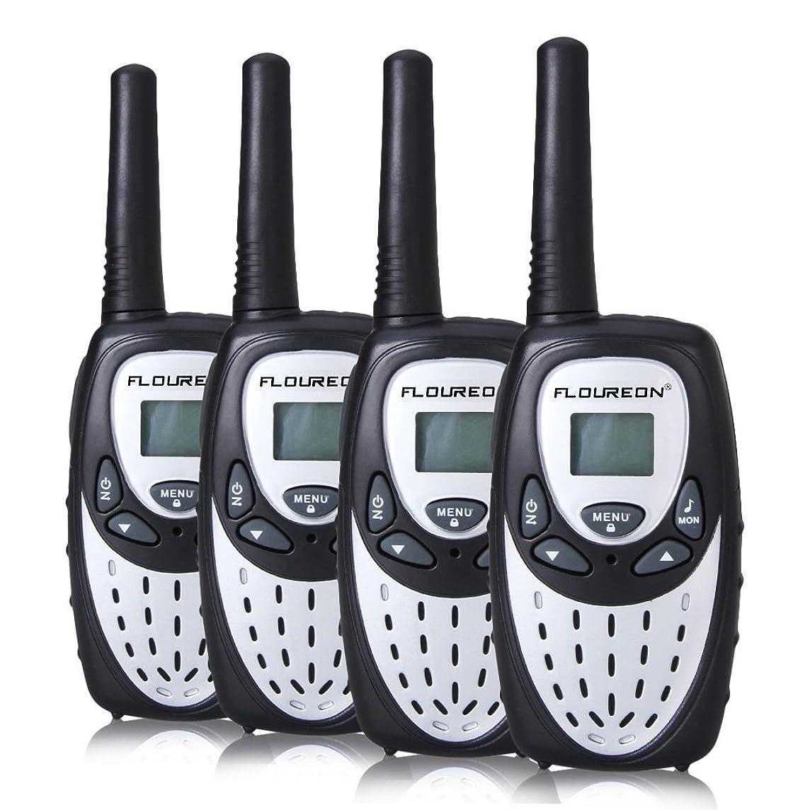 FLOUREON 4 Packs Walkie Talkies Two Way Radios 22 Channel 3000M (MAX 5000M Open Field) UHF Long Range Handheld Talkies Talky (Silver)
