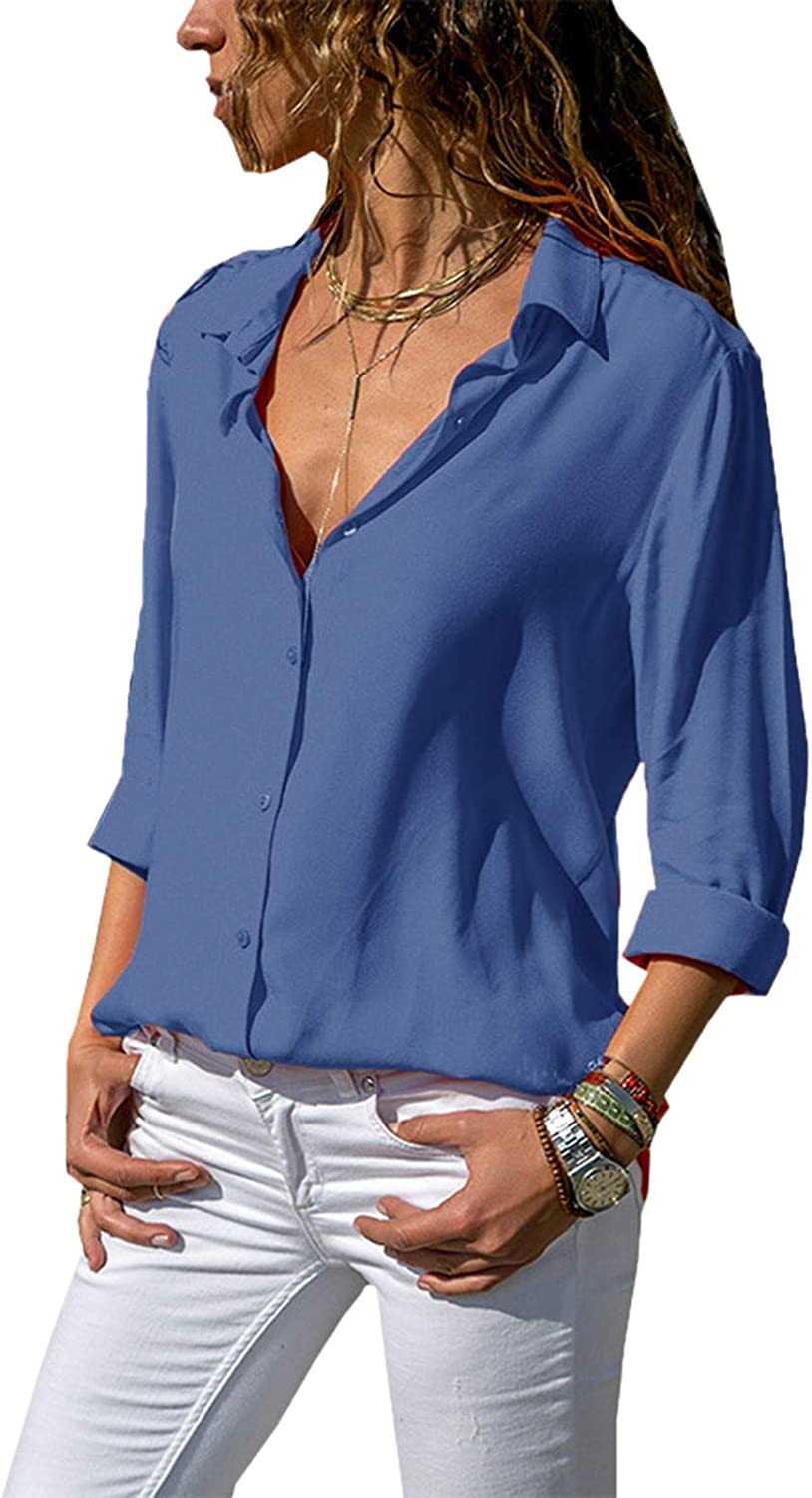 Bellastory Women's Button Down Shirts Roll-up Sleeve Blouse V Neck Casual Tunics Solid Color Tops