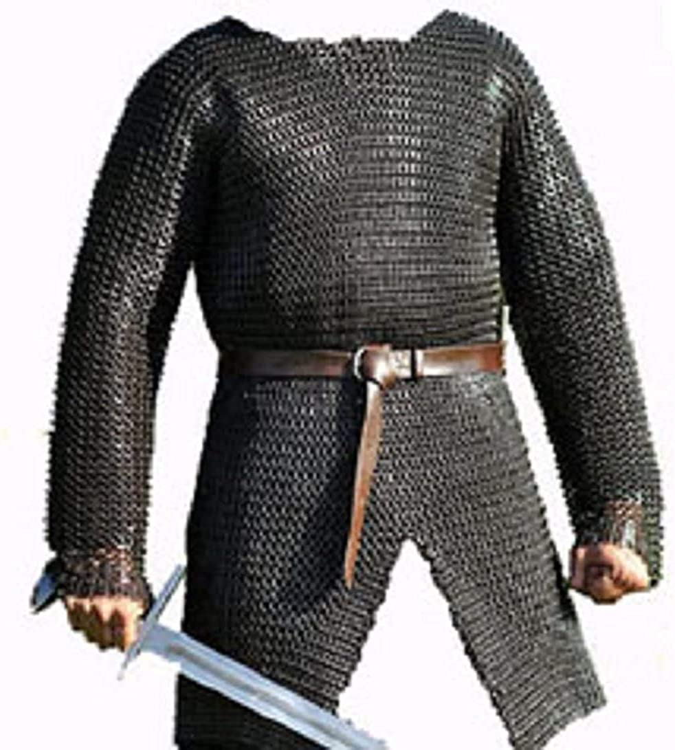 AINS Full Sleeve Hubergion Shirt Round Riveted with Flat Warser Chainmail Shirt 9 mm (Oil, Medium)