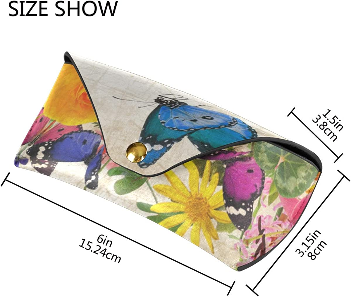 Goggles Bag Portable Colorful Beautiful Butterfly Flowe Floral PU Leather Sunglasses Case Eyeglasses Pouch Multiuse Storage