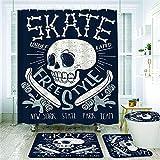 Duschvorhang-Set mit coolen Skateboard-Schädel-Design, rutschfeste Teppiche, WC-Deckelbezug & Badematte, Skaterboard, Musikgrafik, Skater-Knochen, Badezimmer-Dekoration, Badvorhänge, 12 Haken