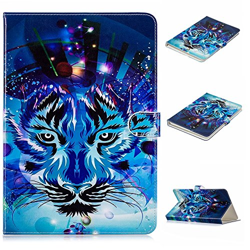Casii Universal Case for 9.5-10.5 inch Tablet, PU Leather Protective Case Cover Cartoon Cute Flip Folio Stand Wallet Case for All 9.5 inch to 10.5 inch Tablet(No Auto Sleep/Wake Feature)-Blue Tiger