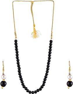 Saissa Imitation Pearls Indian Necklace Earrings Boho Jewelry Set for Women