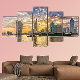 AAAKK Impression sur Toile Gratte-Ciel et rivière à Ho chi Minh Ville Tableau XXL 5 Parties Impression Encadree Tableaux p...