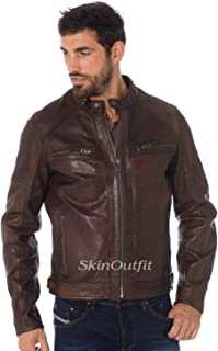SKINOUTFIT Mens Leather Jackets Motorcycle Bomber Biker Genuine Lambskin 78