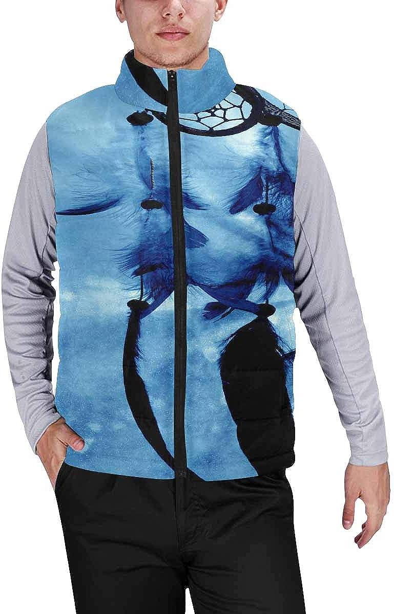 InterestPrint Winter Outwear Casual Padded Vest Coats for Men a Dreamcatcher on a Blue Mystical Background S