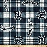 MLB Fleece New York Yankees Paid Navy/White, Fabric by the Yard