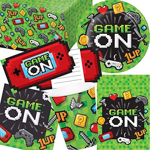 101-tlg. Party Set * Game ON * für Kindergeburtstag mit 8 Kinder: Teller, Becher, Servietten, Einladungen, Tischdecke, Partytüten, Luftschlangen, Luftballons | LAN Gaming Zocken Zocker Pixel Spiele