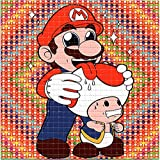 Toad Licking Mario BLOTTER Art Psychedelic Print Perforated Sheet, Acid Free LSD Art Paper 30x30, 900 tabs, 7.5 inch, in Clear Protective Sleeve