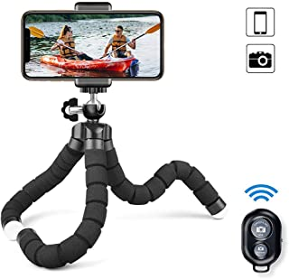 MAEXUS Camera Flexible Tripod, Phone Tripod with Bluetooth Remote and Universal Clip, 360° Adjustable Mini Travel Tripod P...