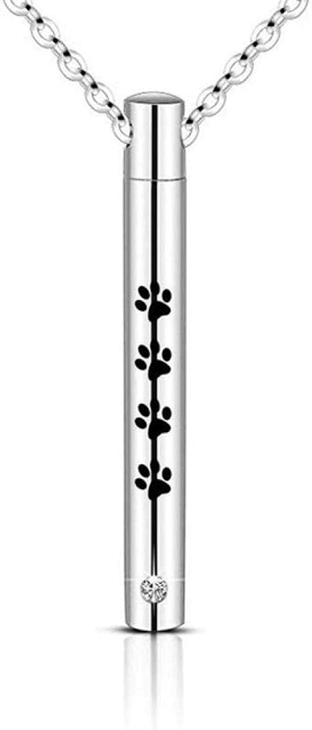 Ashes Memorial Cylinder Tube Bar Urn Necklaces for Ashes Stainless Steel Paw Print Memorial Cremation Jewelry Holder Ashes for Pet/Human