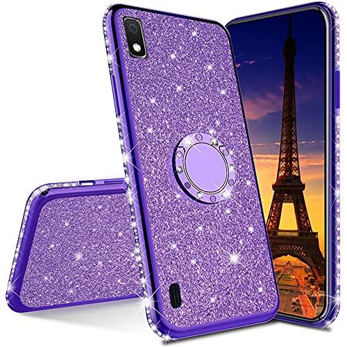 QIWEIQING Compatibile con Cover per Samsung Galaxy J6 Plus / J6 Prime Custodia Protettiva Ultra Sottile con Glitter Custodia Protettiva in Rotante Custodia per Samsung J6 Plus Purple KDL