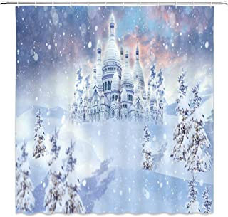 AMHNF Ice Castle As Frozen Shower Curtain Snowfield Snowflake White Blue Fantasy Winter Bathroom Decor Sets Simple Personality Fabric Curtains 70x70inches with Hooks