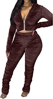 Two Piece Outfits, 2021 New Casual Solid Color Outfits Set for Womens, Long Sleeve Zipper Jacket Bodycon Pants Clubwear Tr...