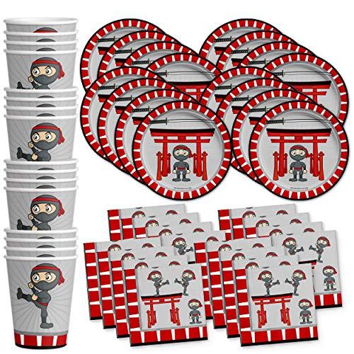 Ninja Warrior Birthday Party Supplies Set Plates Napkins Cups Tableware Kit for 16