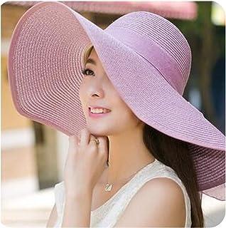 Encounter_meet Sombrero de protección UV para Mujer, de Verano, con Visera de Arco para Sol, Playa, Paja, Color Caramelo