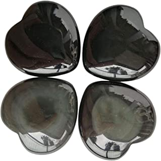 Loveliome 4 Pcs Natural Black Obsidian Love Heart Palm Stone Reiki Balancing Worry Stone(1 Inch)